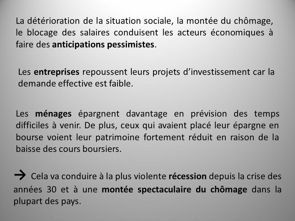 La détérioration de la situation sociale, la montée du chômage, le blocage des salaires conduisent les acteurs économiques à faire des anticipations pessimistes.