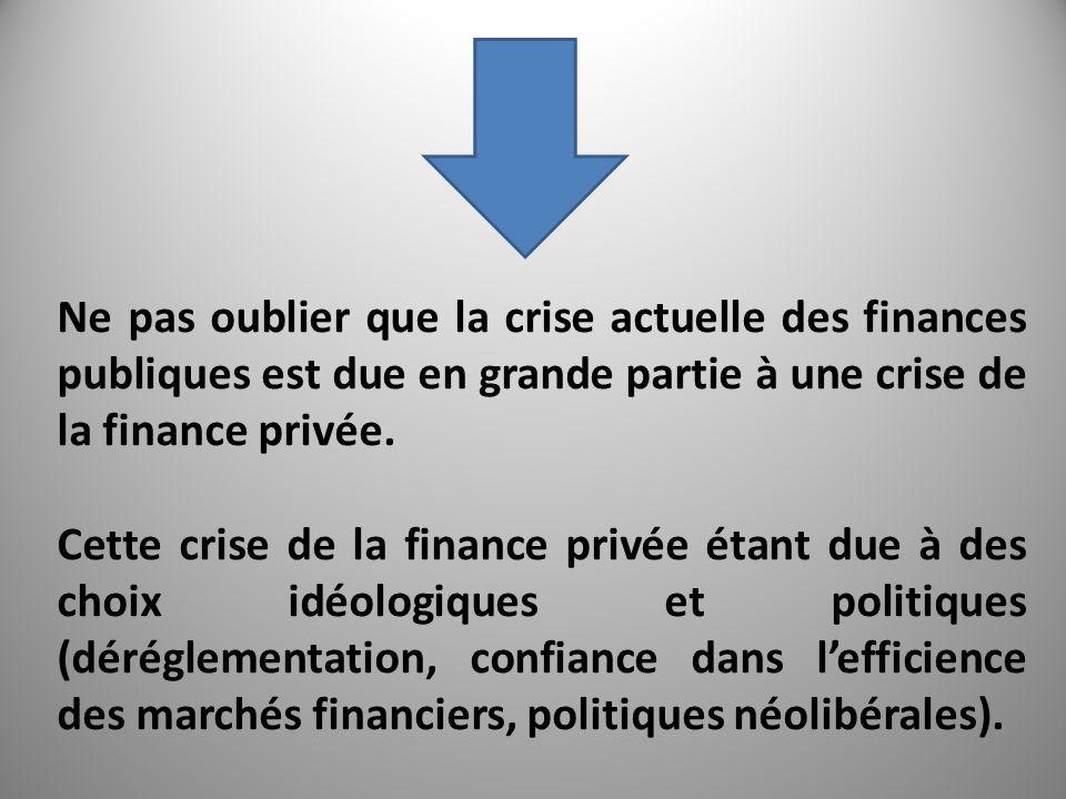 Ne pas oublier que la crise actuelle des finances publiques est due en grande partie à une crise de la finance privée.