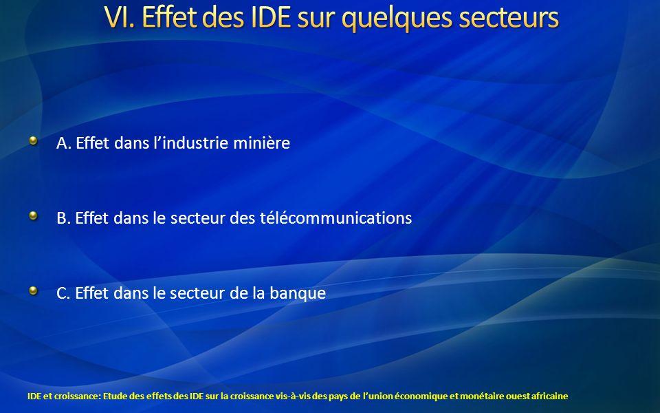 VI. Effet des IDE sur quelques secteurs
