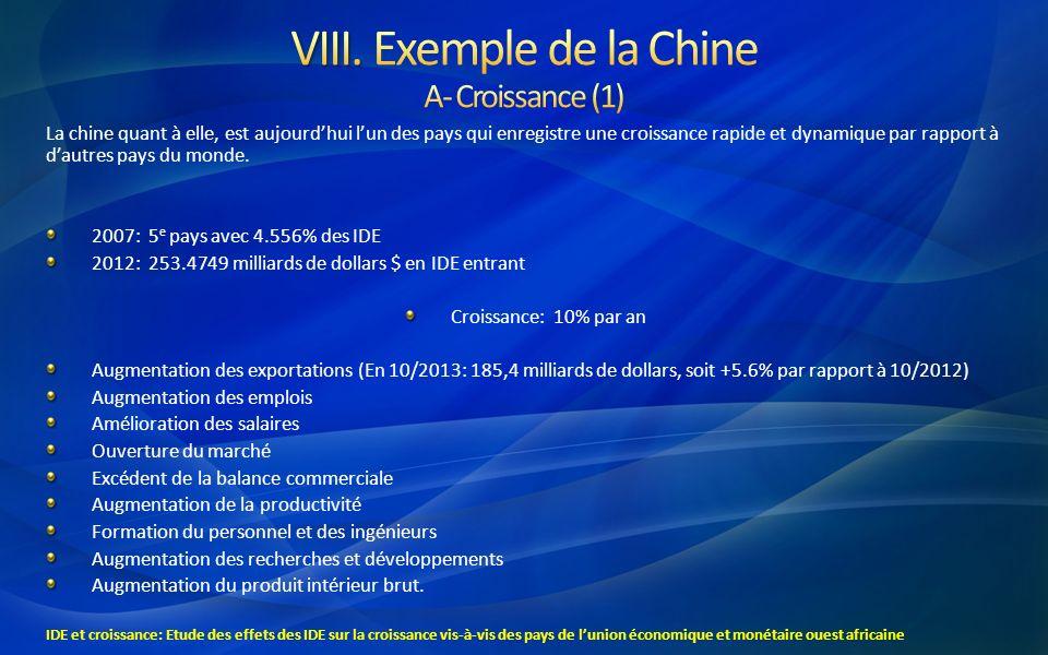 VIII. Exemple de la Chine A- Croissance (1)