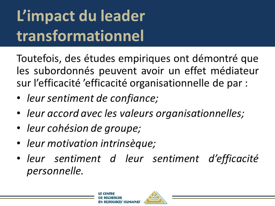 L'impact du leader transformationnel
