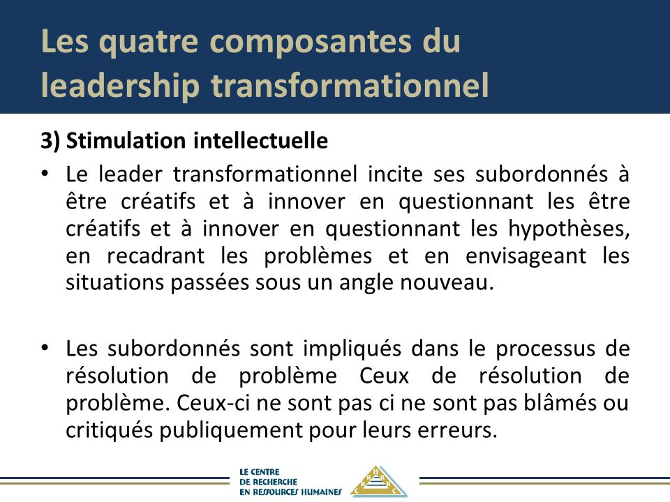 Les quatre composantes du leadership transformationnel