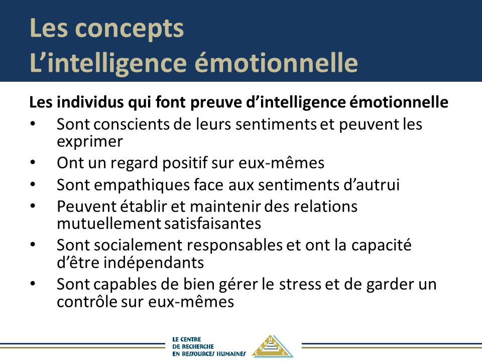 Les concepts L'intelligence émotionnelle