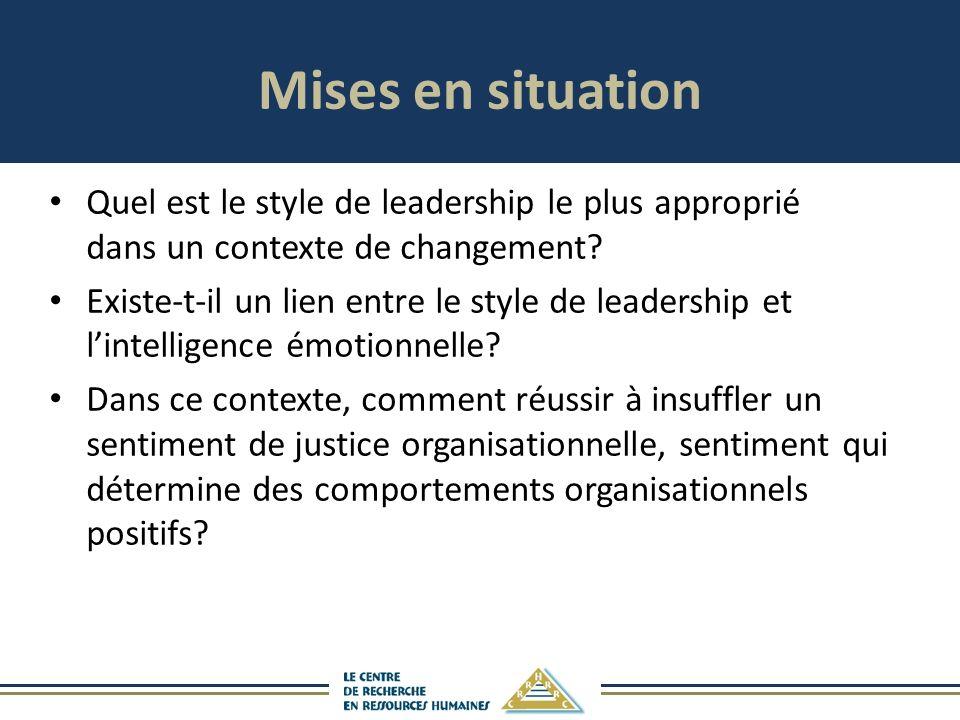 Mises en situation Quel est le style de leadership le plus approprié dans un contexte de changement