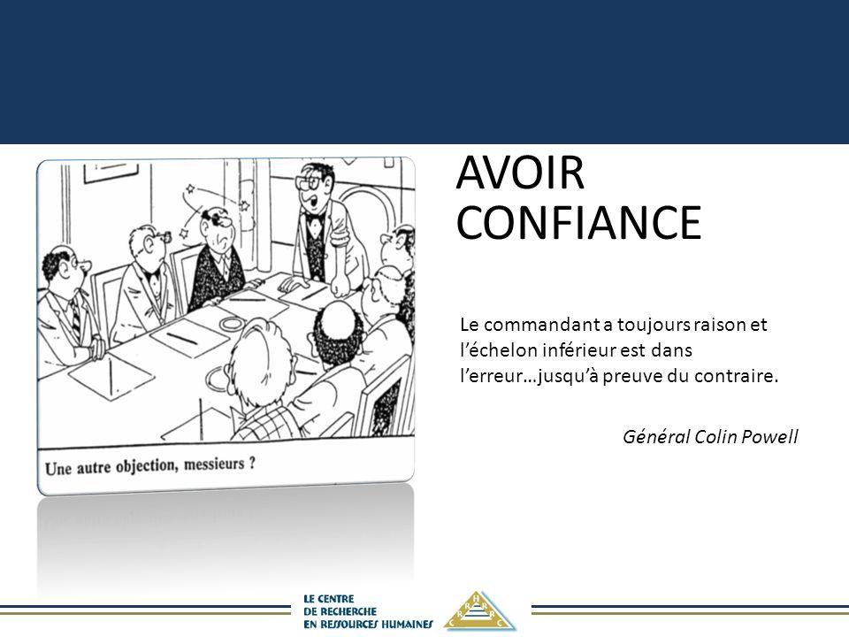 AVOIR CONFIANCE Le commandant a toujours raison et l'échelon inférieur est dans l'erreur…jusqu'à preuve du contraire.