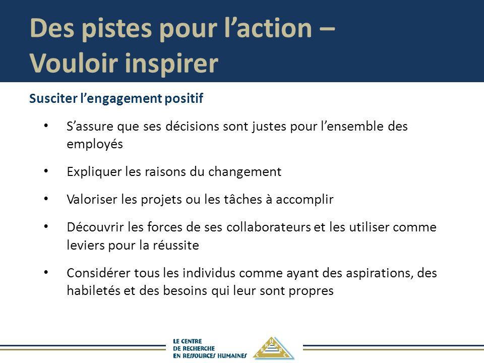 Des pistes pour l'action – Vouloir inspirer