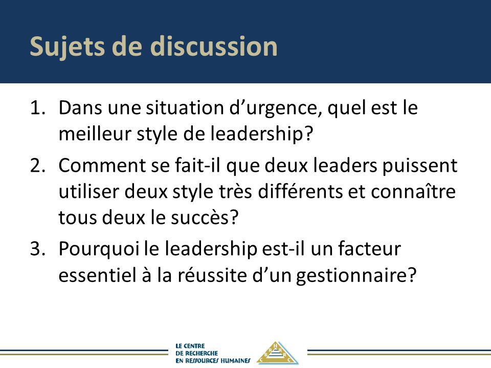 Sujets de discussion