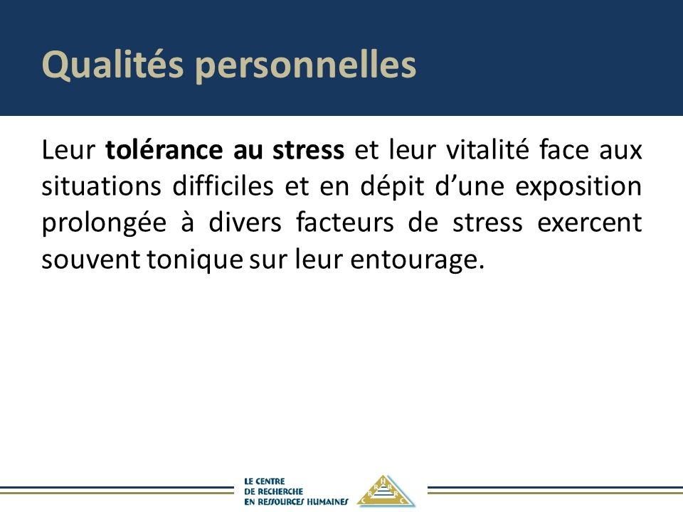 Qualités personnelles