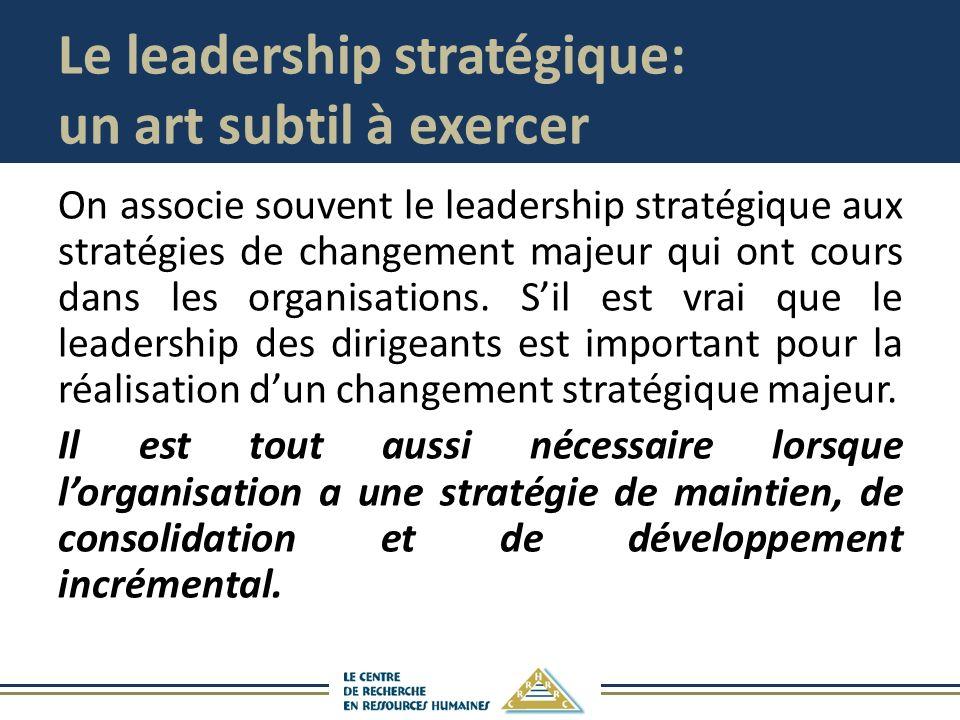 Le leadership stratégique: un art subtil à exercer