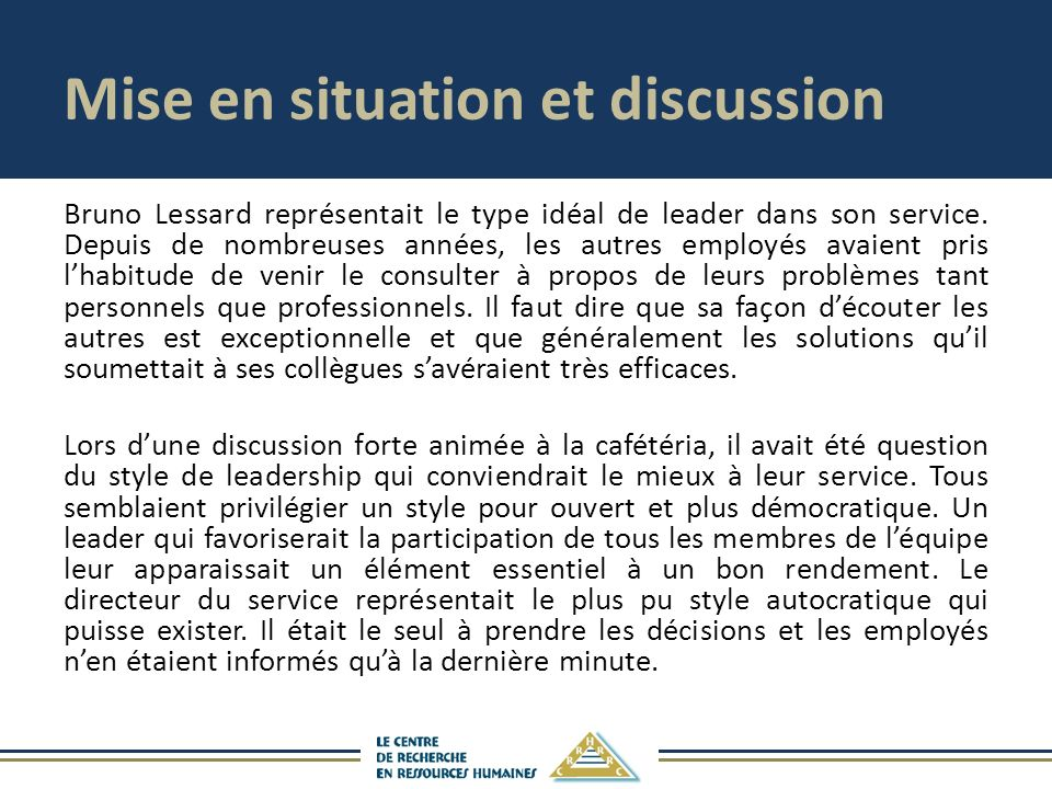 Mise en situation et discussion
