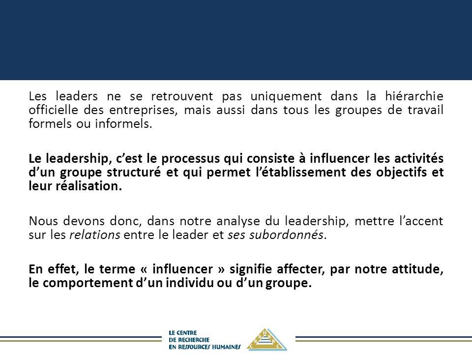 Les leaders ne se retrouvent pas uniquement dans la hiérarchie officielle des entreprises, mais aussi dans tous les groupes de travail formels ou informels.
