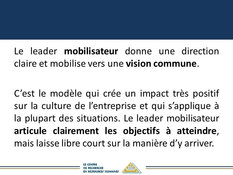 Le leader mobilisateur donne une direction claire et mobilise vers une vision commune.