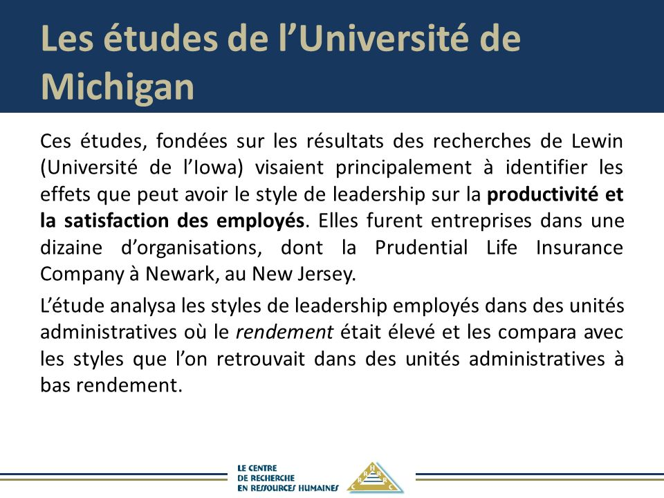 Les études de l'Université de Michigan