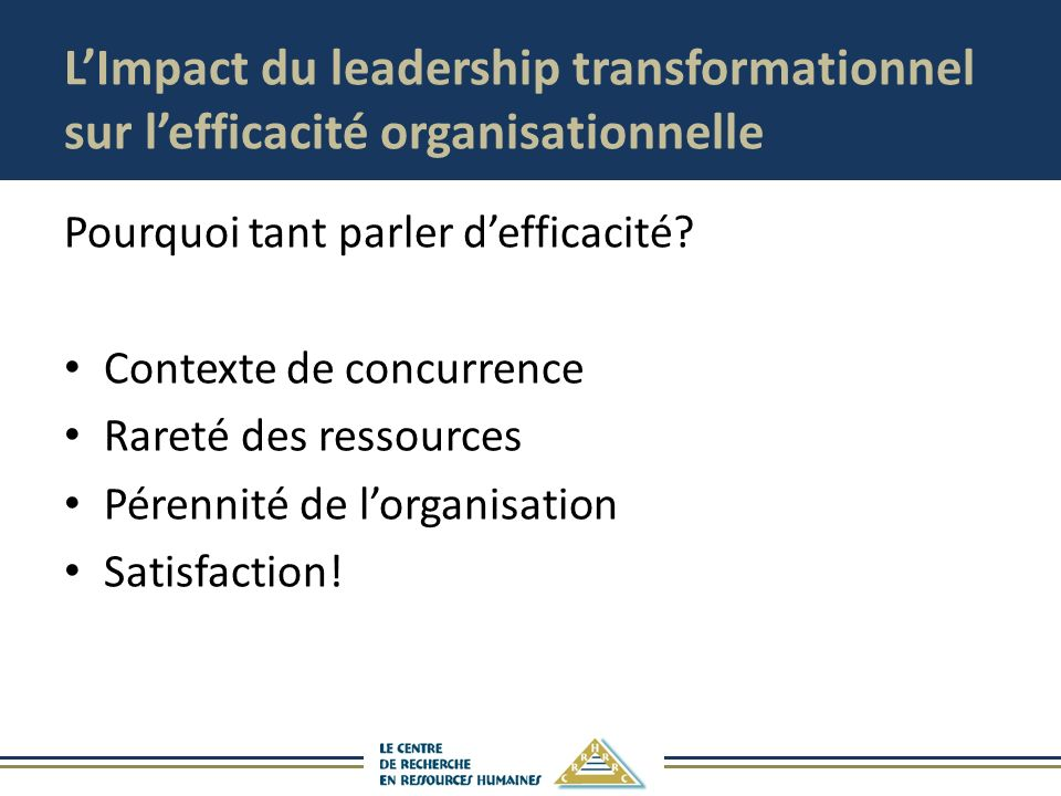 L'Impact du leadership transformationnel sur l'efficacité organisationnelle