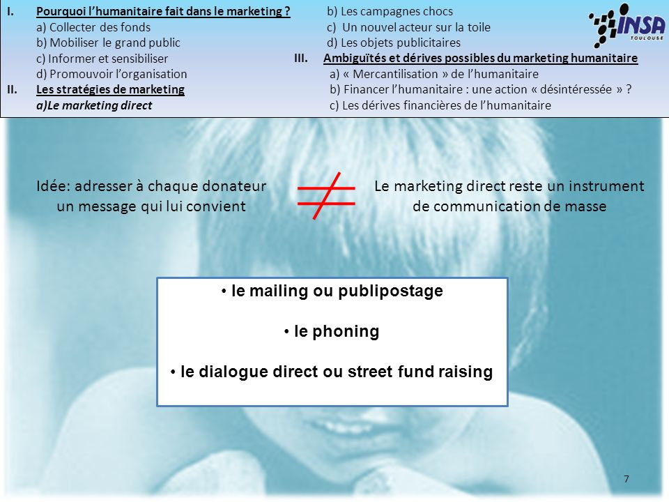 le mailing ou publipostage le dialogue direct ou street fund raising
