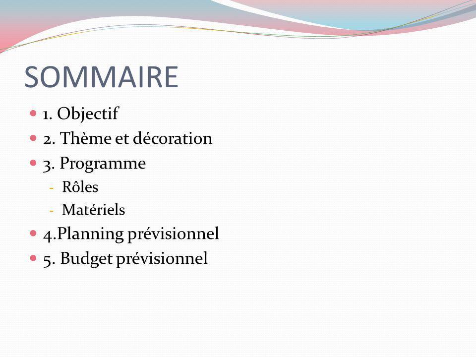 SOMMAIRE 1. Objectif 2. Thème et décoration 3. Programme