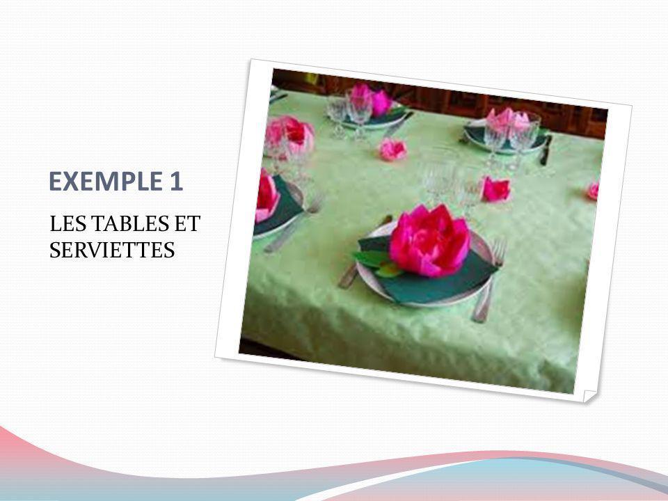 EXEMPLE 1 LES TABLES ET SERVIETTES
