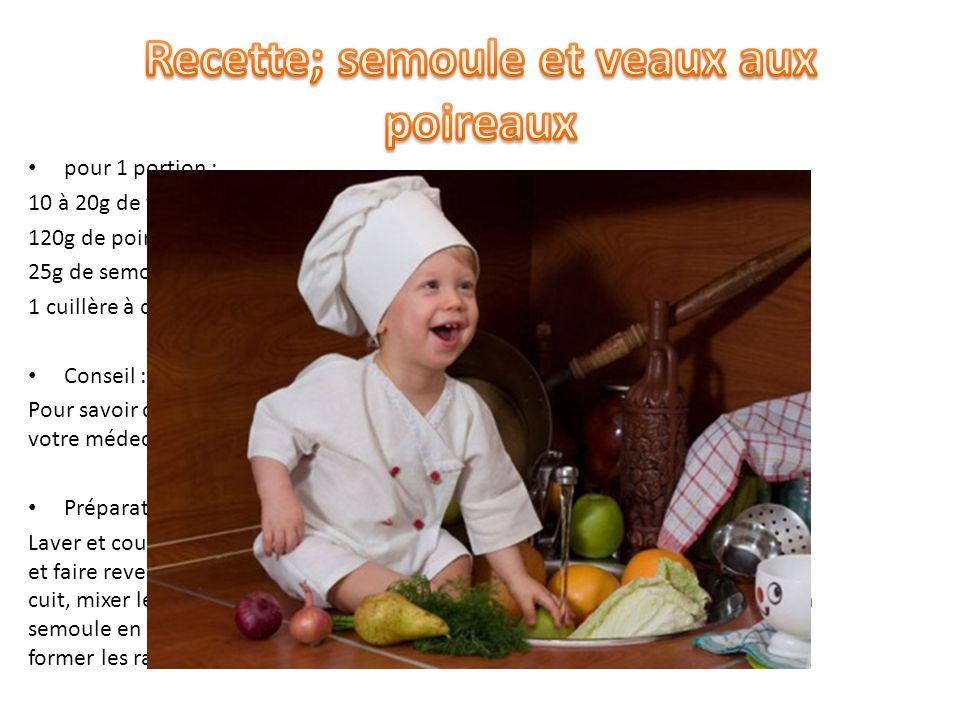 Recette; semoule et veaux aux poireaux
