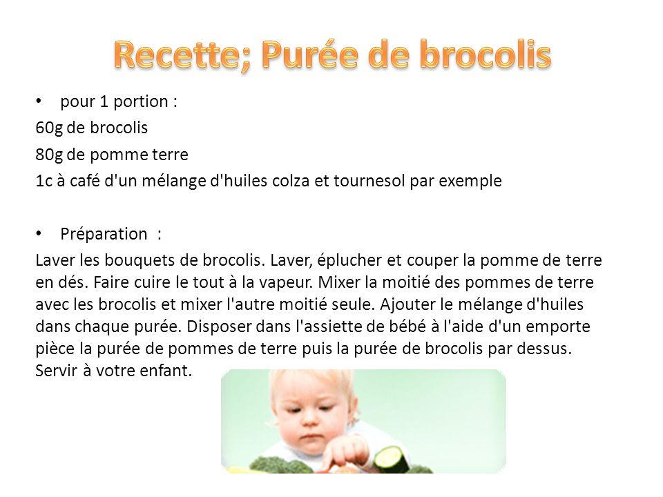 Recette; Purée de brocolis