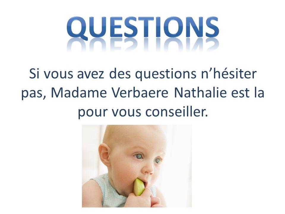 Questions Si vous avez des questions n'hésiter pas, Madame Verbaere Nathalie est la pour vous conseiller.
