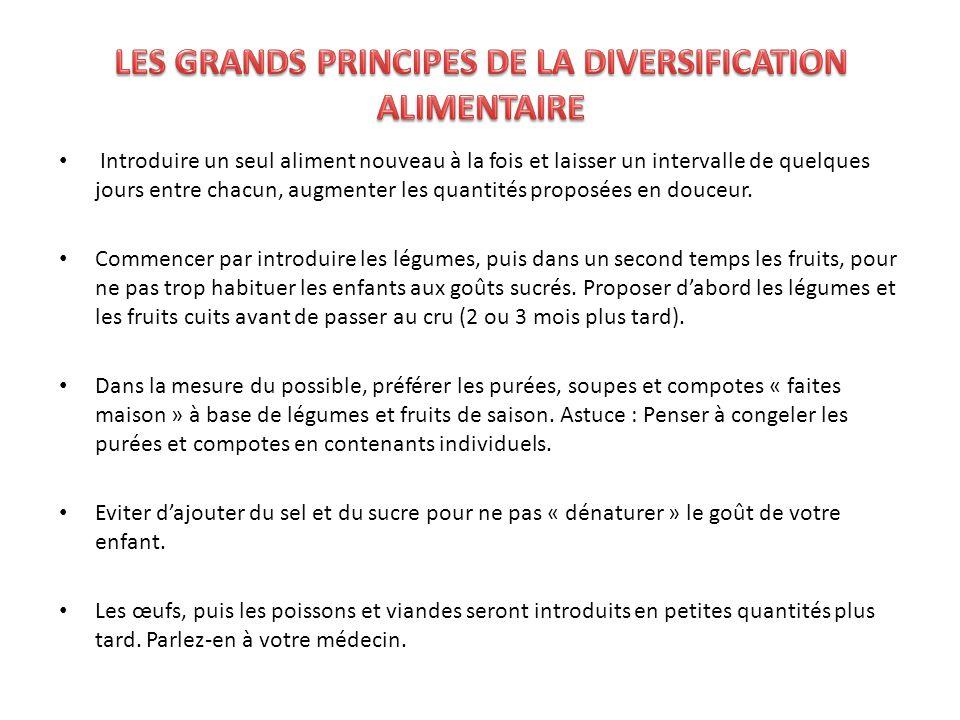 LES GRANDS PRINCIPES DE LA DIVERSIFICATION ALIMENTAIRE