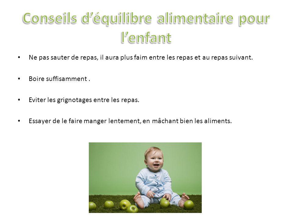 Conseils d'équilibre alimentaire pour l'enfant