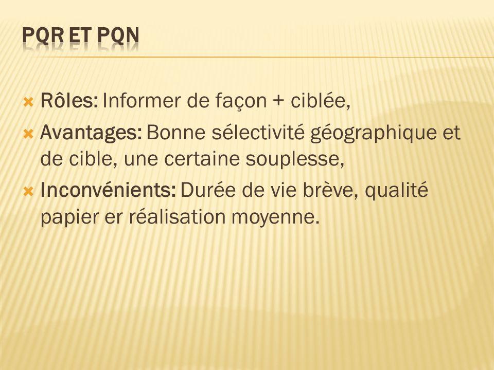 PQR et PQN Rôles: Informer de façon + ciblée, Avantages: Bonne sélectivité géographique et de cible, une certaine souplesse,