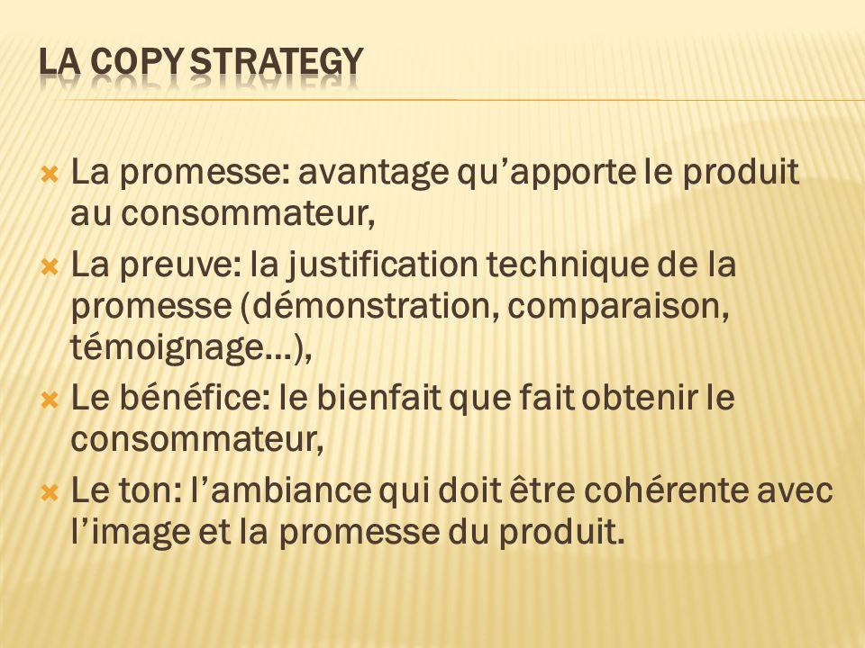 La Copy Strategy La promesse: avantage qu'apporte le produit au consommateur,