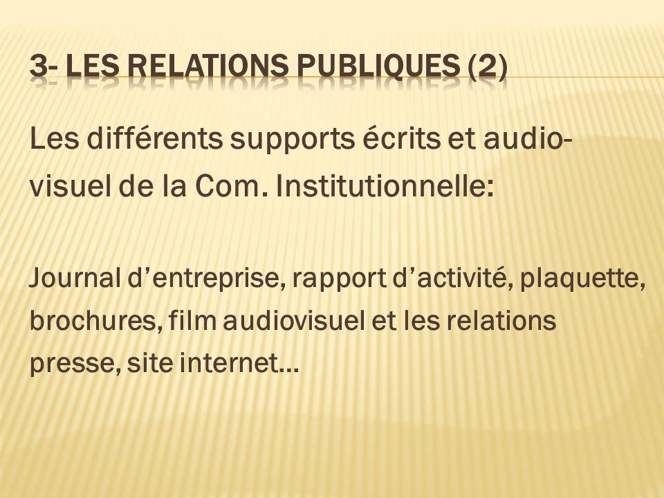 3- LES RELATIONS PUBLIQUES (2)