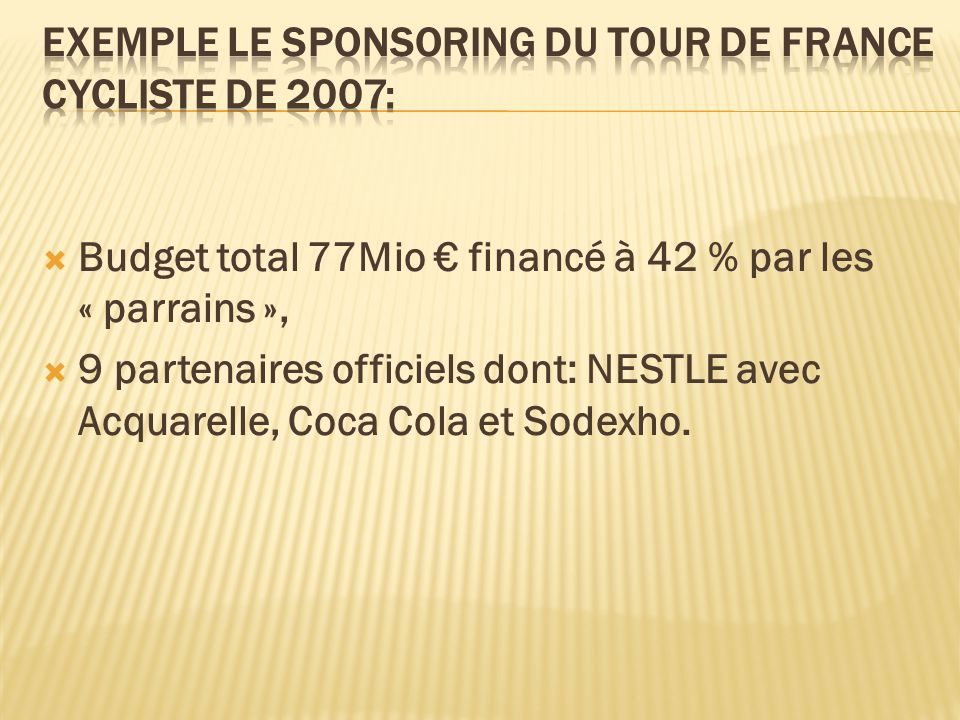 Exemple le sponsoring du Tour de France Cycliste de 2007: