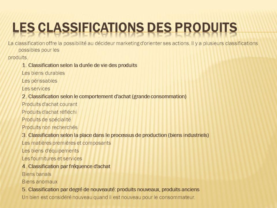 Les classifications des produits