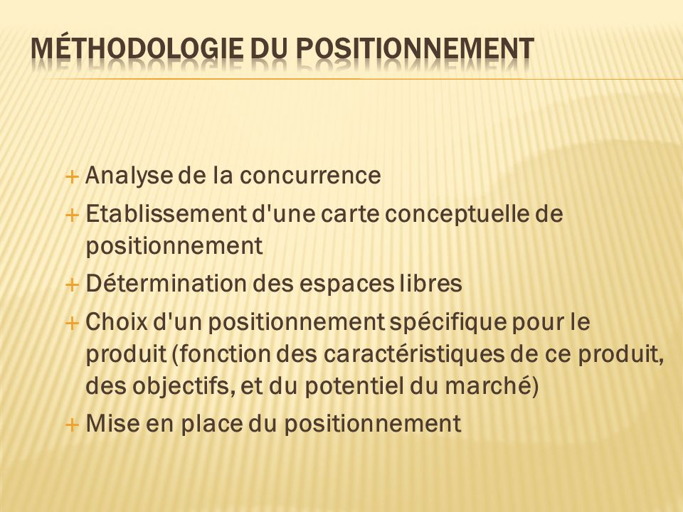 Méthodologie du positionnement