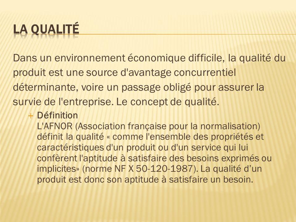 La qualité Dans un environnement économique difficile, la qualité du