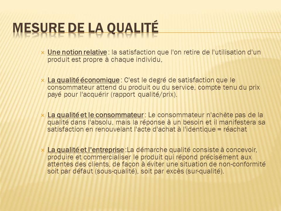 Mesure de la qualité Une notion relative : la satisfaction que l on retire de l utilisation d un produit est propre à chaque individu,