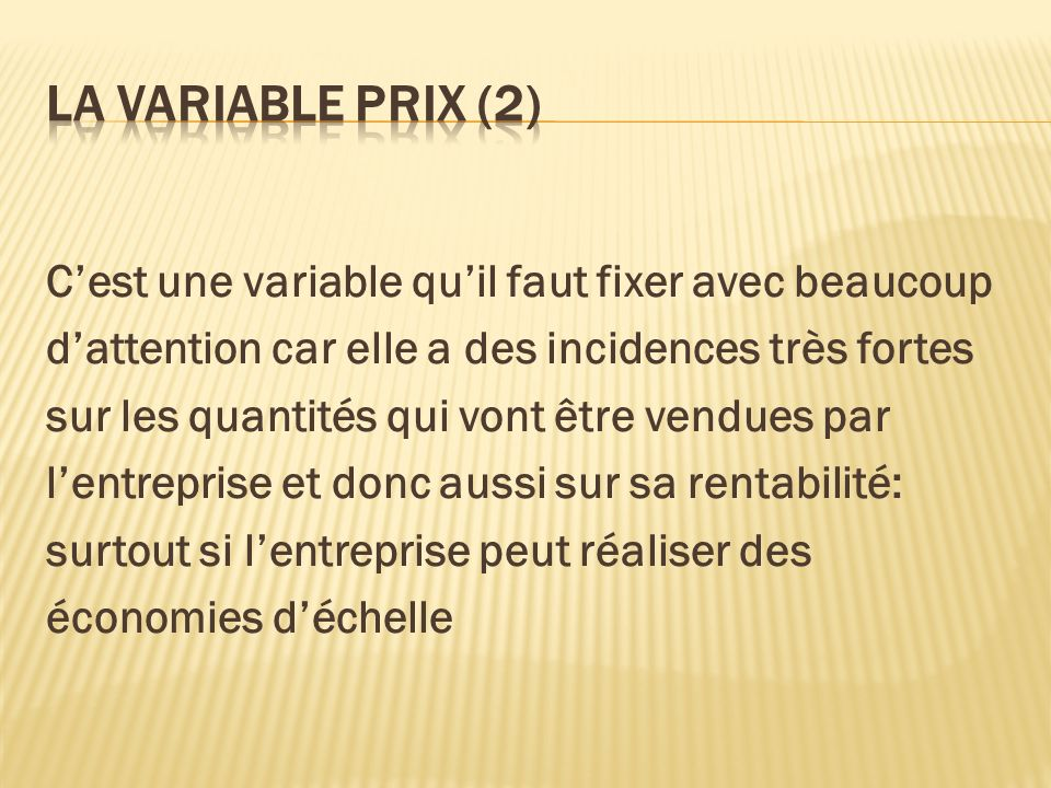La variable prix (2)