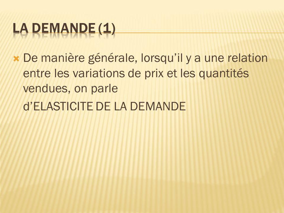La demande (1) De manière générale, lorsqu'il y a une relation entre les variations de prix et les quantités vendues, on parle.