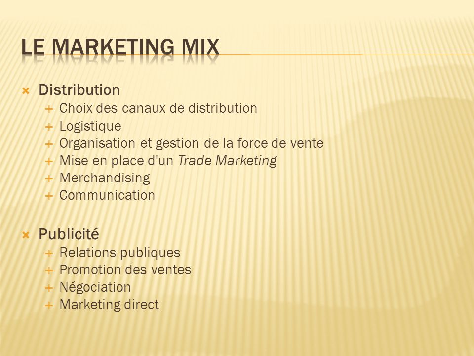Le marketing mix Distribution Publicité