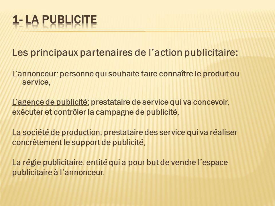 1- LA PUBLICITE Les principaux partenaires de l'action publicitaire: