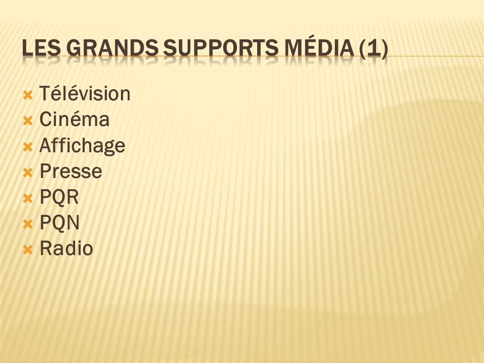 Les grands supports média (1)