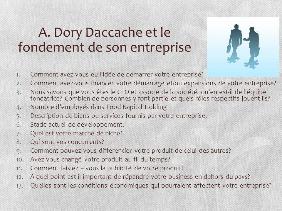 A. Dory Daccache et le fondement de son entreprise