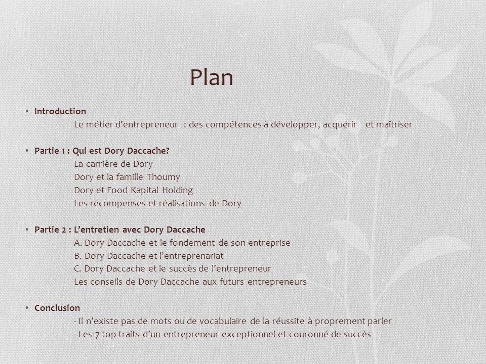 Plan Introduction. Le métier d'entrepreneur : des compétences à développer, acquérir et maîtriser.