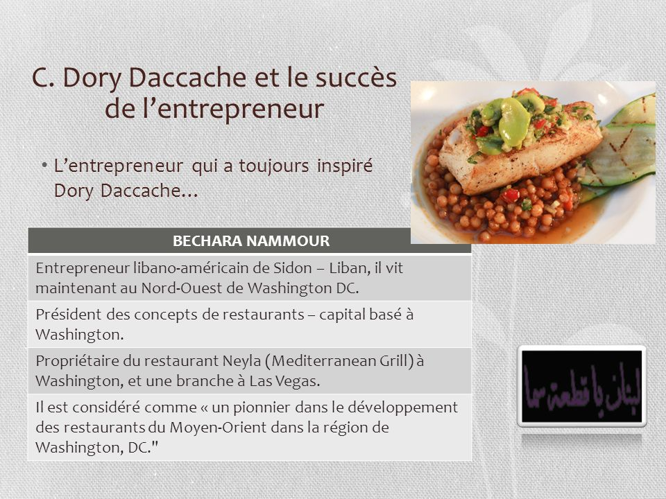 C. Dory Daccache et le succès de l'entrepreneur