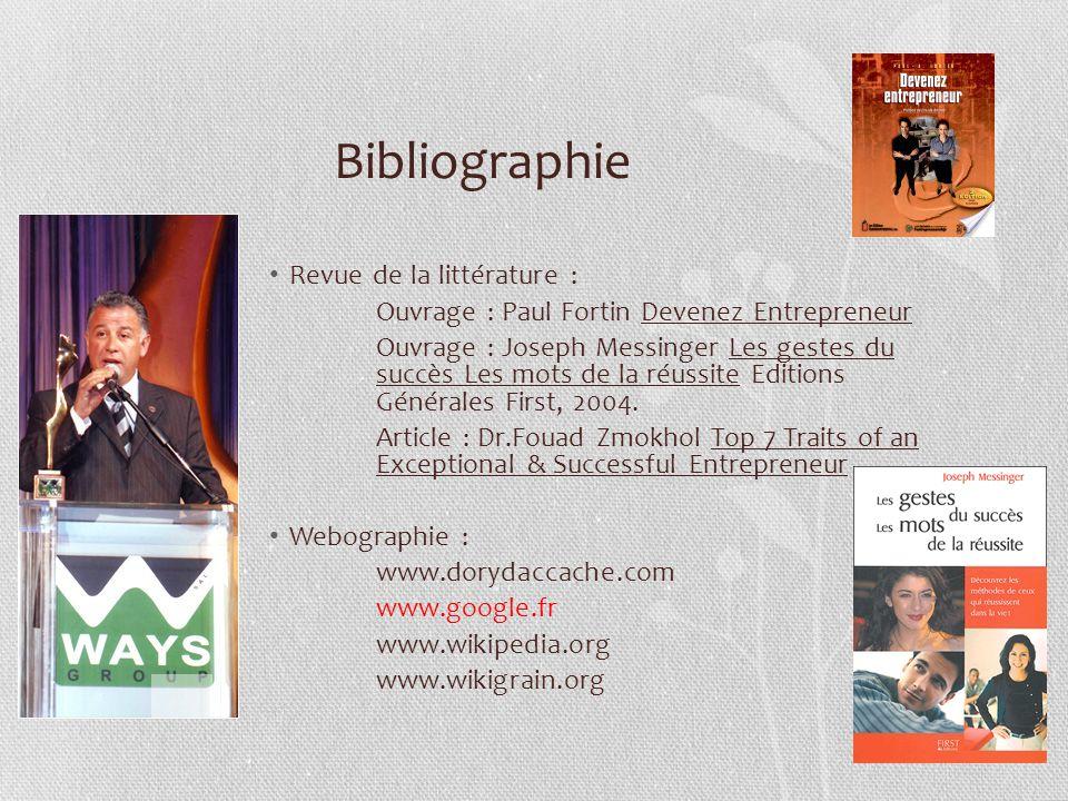 Bibliographie Revue de la littérature :