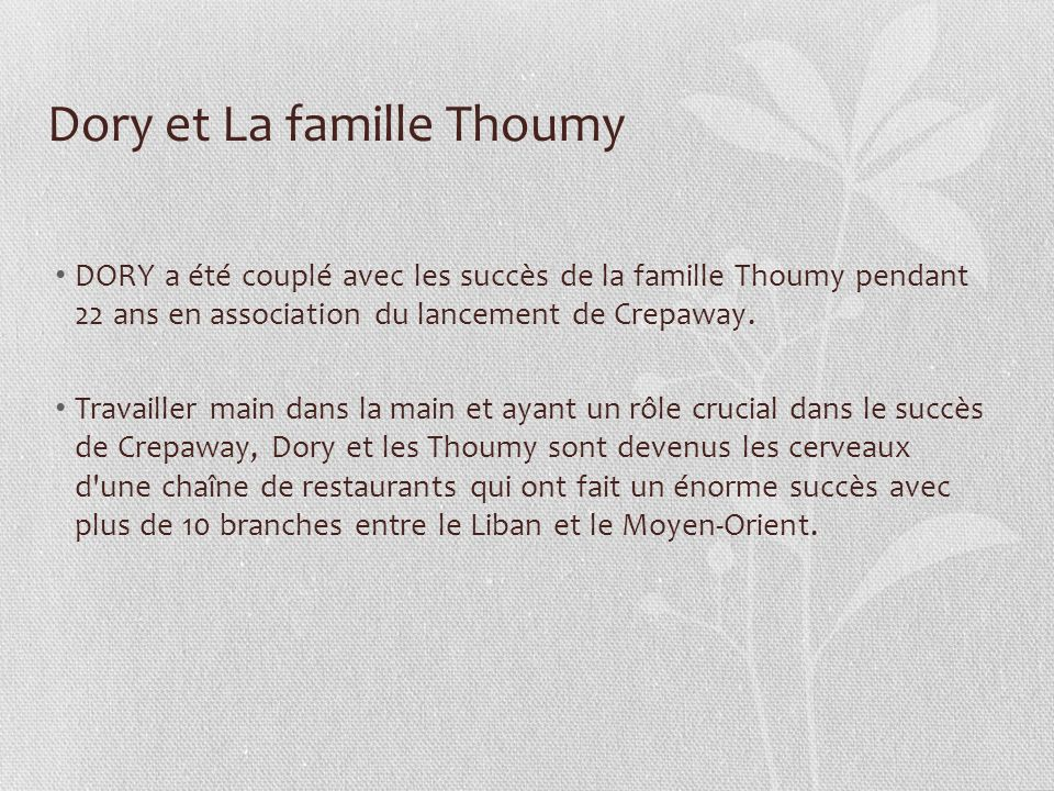 Dory et La famille Thoumy