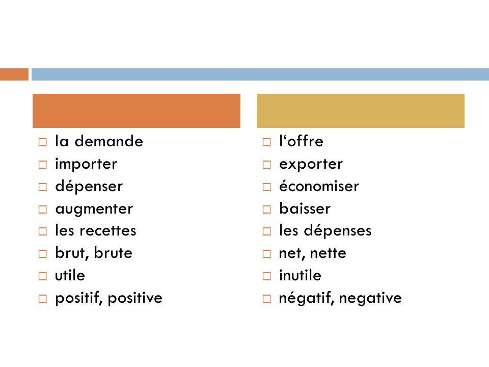 la demande importer. dépenser. augmenter. les recettes. brut, brute. utile. positif, positive.