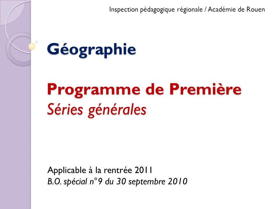 Géographie Programme de Première Séries générales