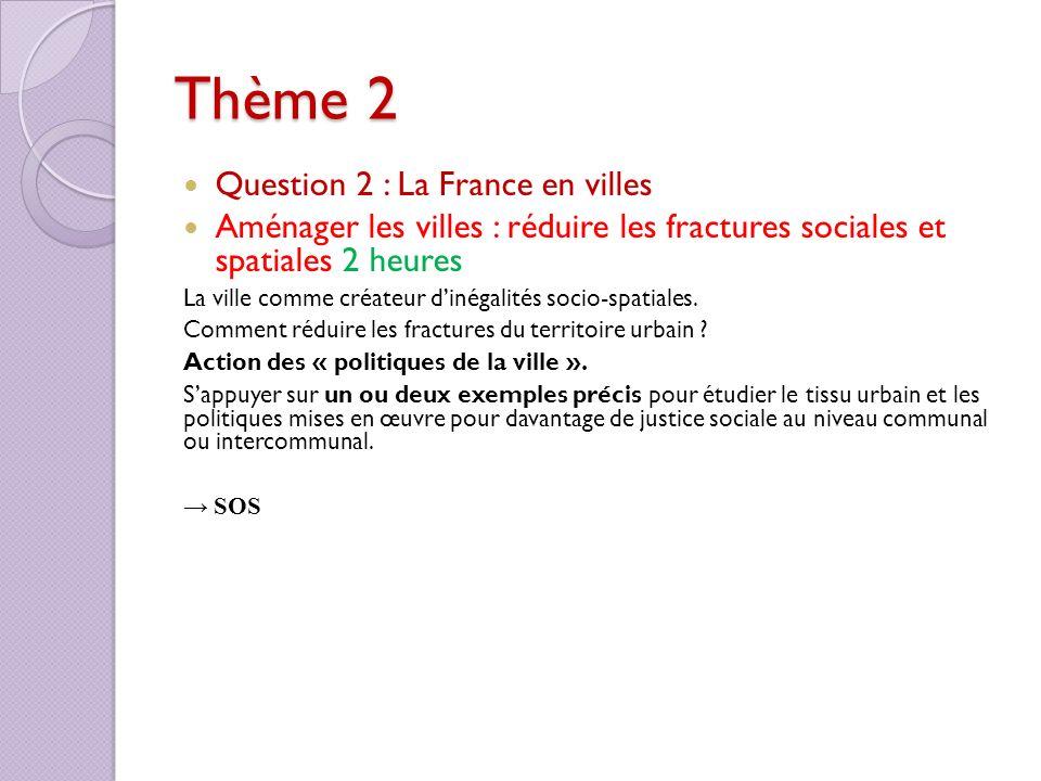 Thème 2 Question 2 : La France en villes