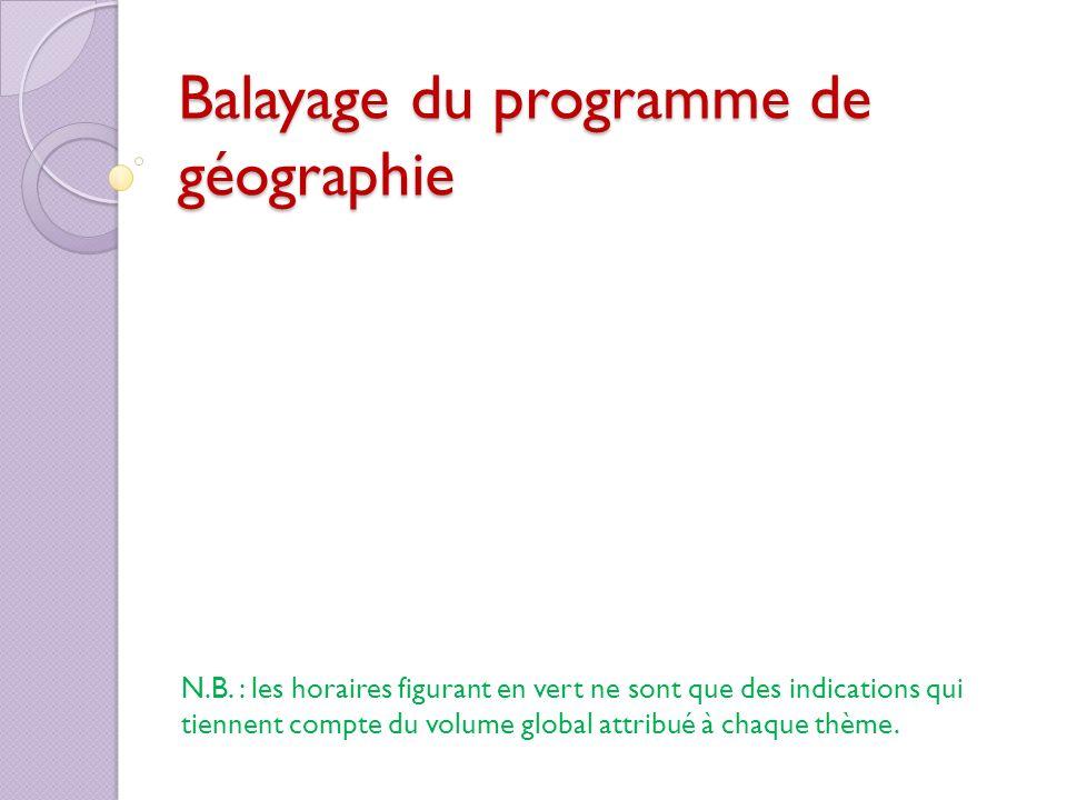 Balayage du programme de géographie