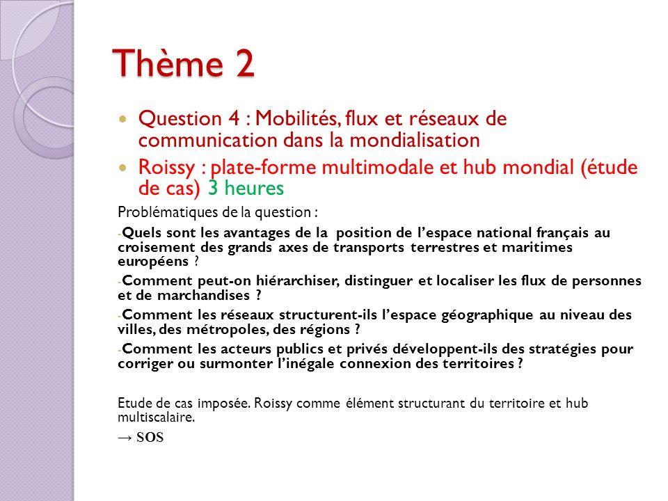 Thème 2 Question 4 : Mobilités, flux et réseaux de communication dans la mondialisation.
