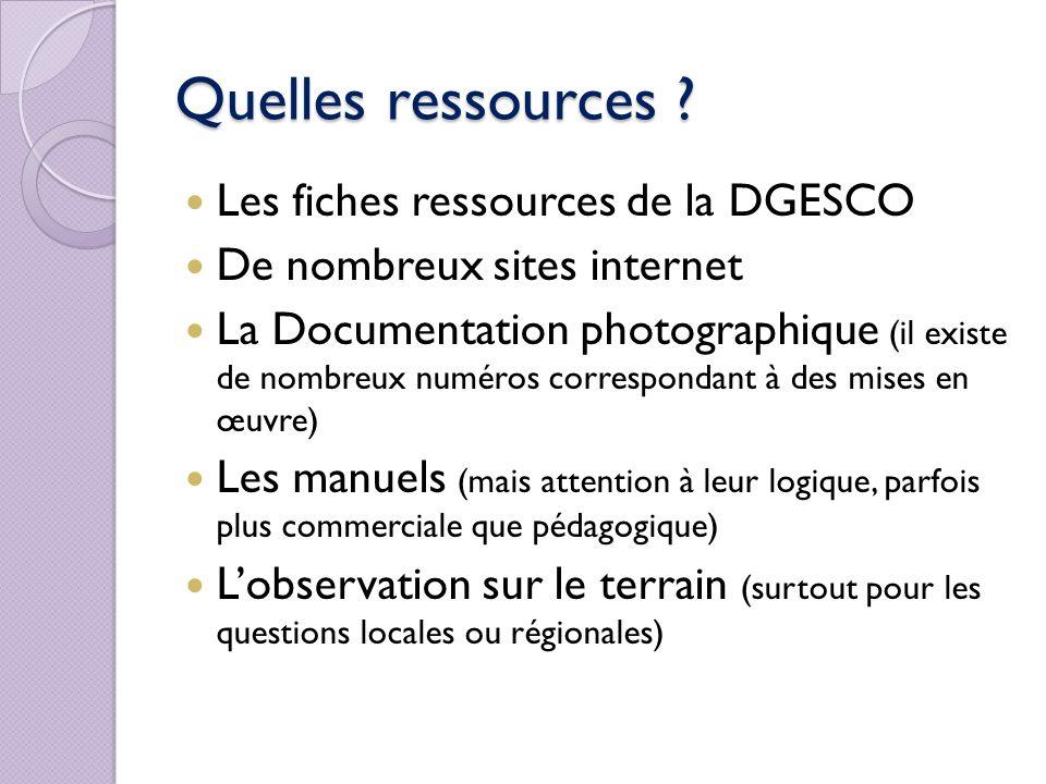 Quelles ressources Les fiches ressources de la DGESCO